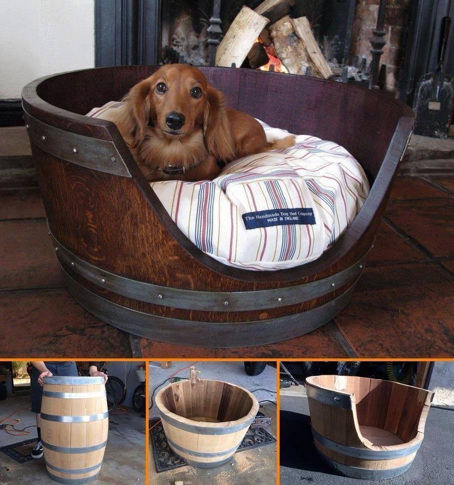 transformer un tonneau en nid douillet pour son animal de compagnie des id es. Black Bedroom Furniture Sets. Home Design Ideas
