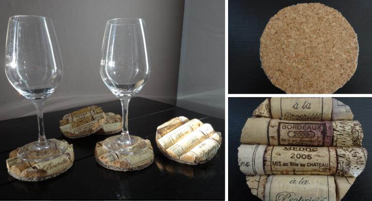 fabriquer des dessous de verre avec des bouchons de li ge des id es. Black Bedroom Furniture Sets. Home Design Ideas