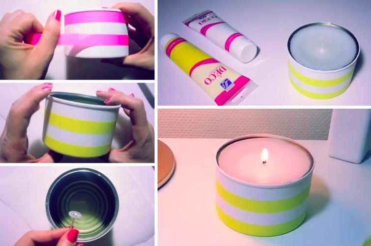 comment fabriquer ses bougies avec des boites de conserve astuce r cup. Black Bedroom Furniture Sets. Home Design Ideas