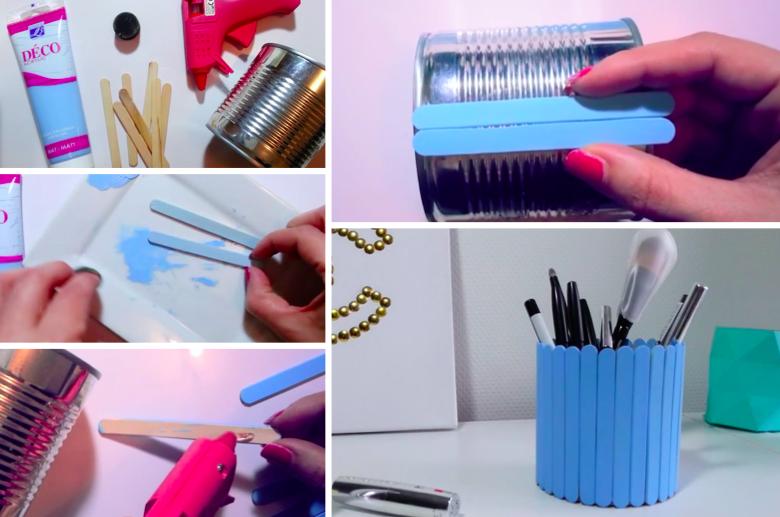 fabriquer un pot crayon avec une boite de conserve et des b tons de glace. Black Bedroom Furniture Sets. Home Design Ideas