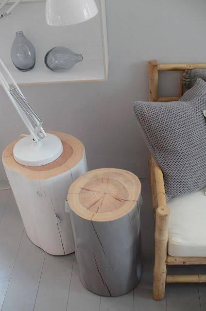 id e de table de chevet ou tabouret r aliser avec des buches en bois des id es. Black Bedroom Furniture Sets. Home Design Ideas