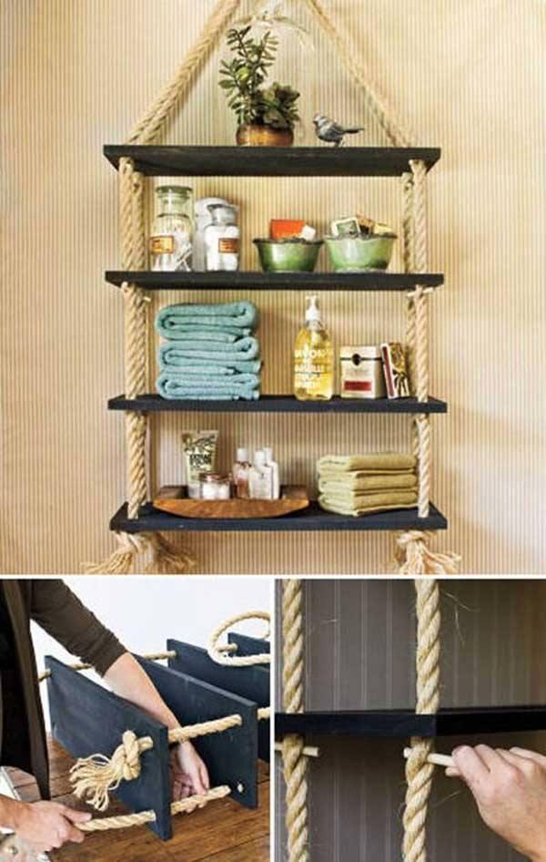 fabriquer une tag re l 39 aide de corde et de planches en. Black Bedroom Furniture Sets. Home Design Ideas