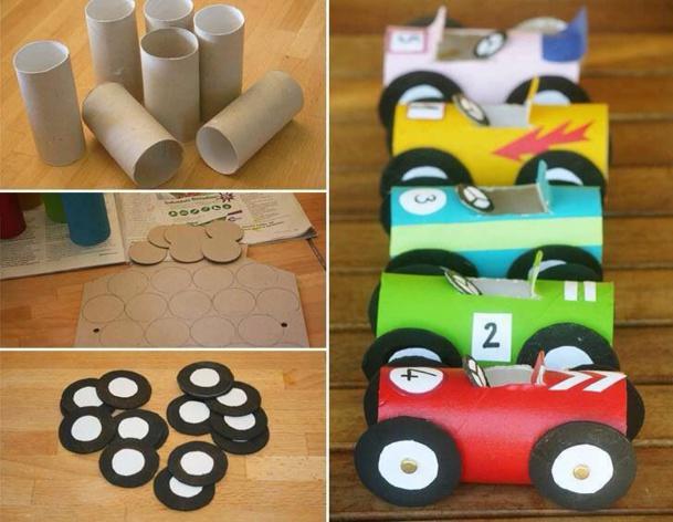 recyclez vos rouleaux de papier toilette en voiture de course des id es. Black Bedroom Furniture Sets. Home Design Ideas