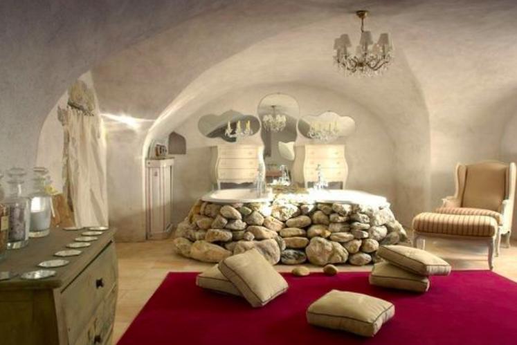 ide de salle de bain style ancien avec baignoire orne de pierres - Salle De Bain Style Ancien
