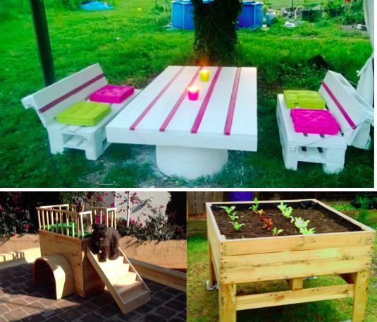 10 id es de cr ations en palettes pour le jardin. Black Bedroom Furniture Sets. Home Design Ideas