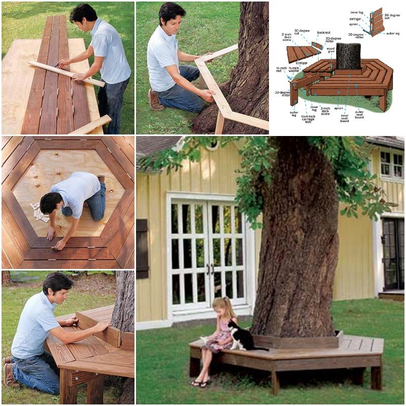 comment fabriquer un banc autour d 39 un arbre des id es. Black Bedroom Furniture Sets. Home Design Ideas