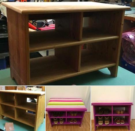 Transformez un vieux meuble en banc pour ranger vos - Meuble pour ranger les jouets ...