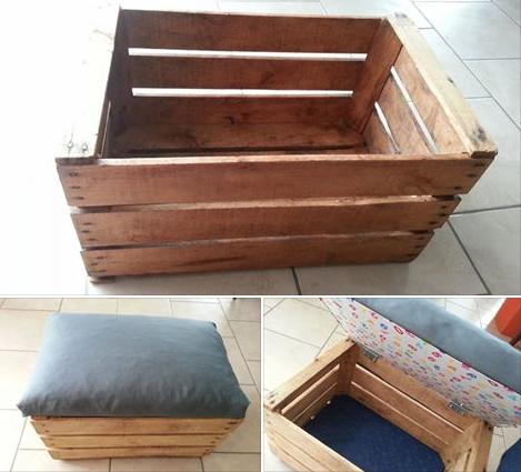 Transformer une caisse en bois en coffre jouets ou pouf - Plan coffre a jouet en bois ...
