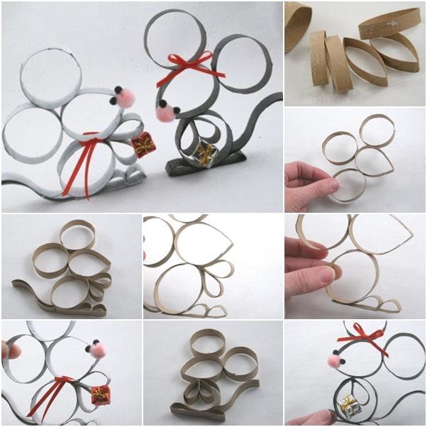 Fabriquer des souris d coratives avec du rouleau de papier - Idee deco avec rouleau papier toilette ...