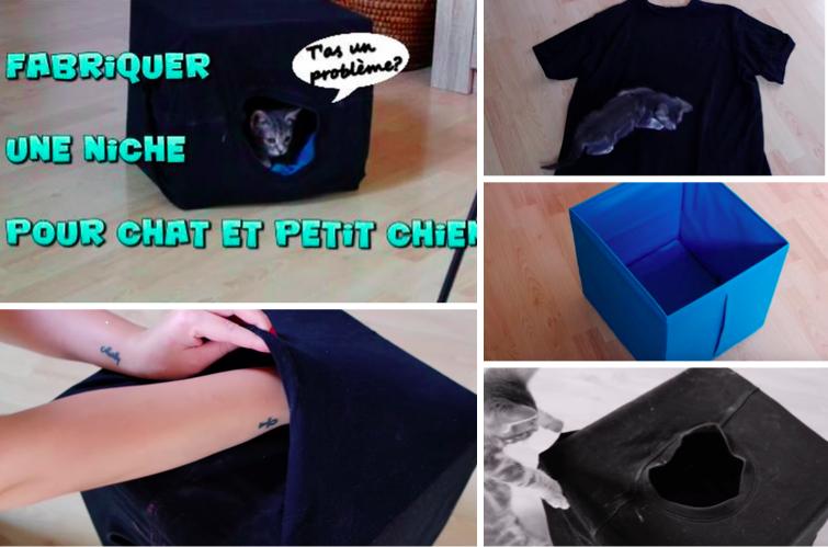 fabriquer une niche pour chat ou petit chien avec un carton et un t shirt. Black Bedroom Furniture Sets. Home Design Ideas