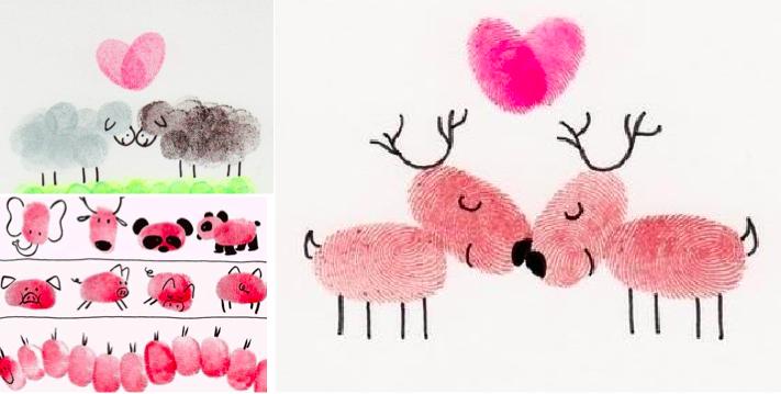pour vos enfants des id es de dessins faire avec les empreintes des doigts des id es. Black Bedroom Furniture Sets. Home Design Ideas