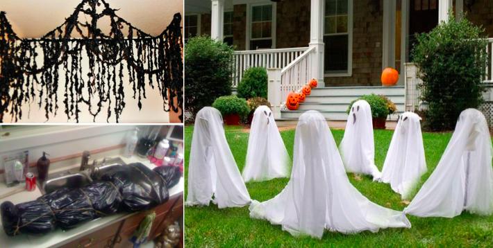 r alisez de superbes d corations d 39 halloween avec des sacs poubelle. Black Bedroom Furniture Sets. Home Design Ideas