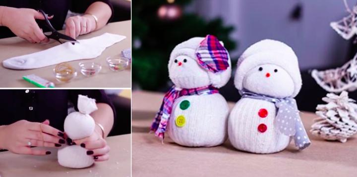 R alisez de jolis bonhommes de neige juste avec des - Decoration de noel avec chaussette ...