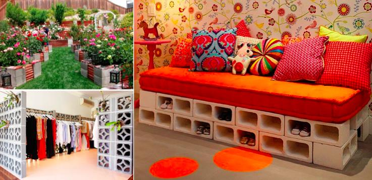 les plus belles id es d co avec des briques et parpaings. Black Bedroom Furniture Sets. Home Design Ideas