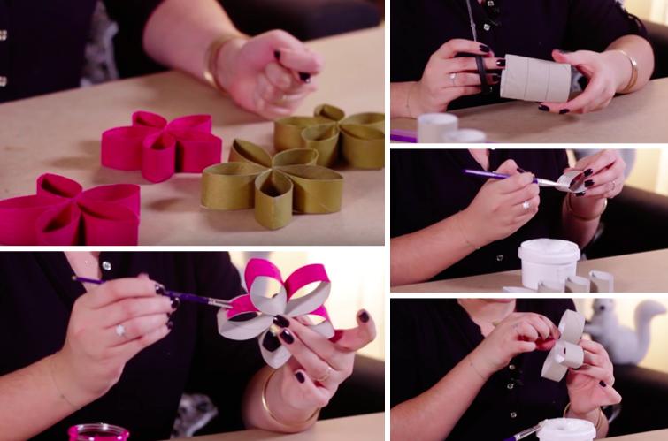 Fabriquez de jolies fleurs pour votre table de Noël avec des rouleaux de papier  toilette