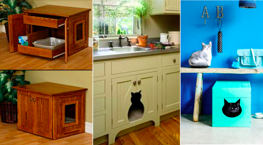 30 tr s bonnes id es pour cacher la liti re de votre chat. Black Bedroom Furniture Sets. Home Design Ideas