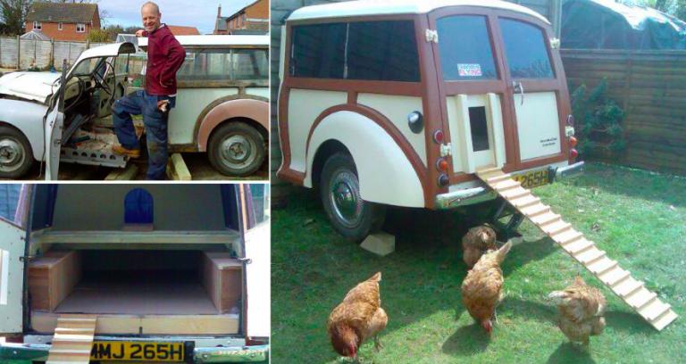 il r nove une vieille voiture pour en faire un super poulailler des id es. Black Bedroom Furniture Sets. Home Design Ideas
