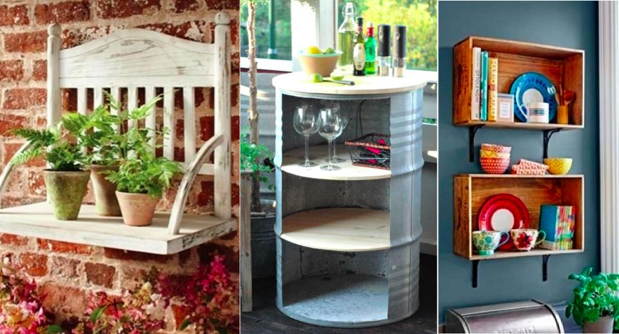 25 id es pour cr er des tag res avec des objets du quotidien des id es. Black Bedroom Furniture Sets. Home Design Ideas