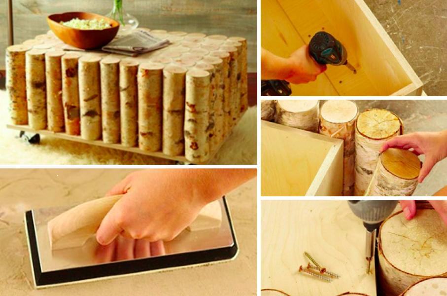 comment faire une table caf en rondins de bois. Black Bedroom Furniture Sets. Home Design Ideas