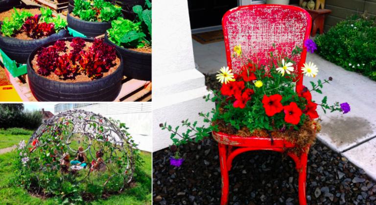 45 fa ons de d tourner des objets pour d corer son jardin des id es. Black Bedroom Furniture Sets. Home Design Ideas