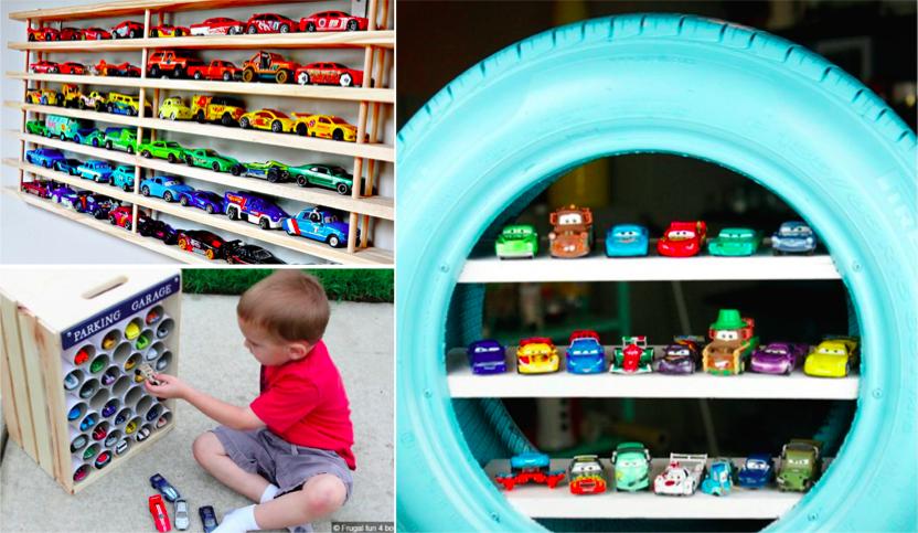 10 id es pour ranger les petites voitures de vos enfants. Black Bedroom Furniture Sets. Home Design Ideas