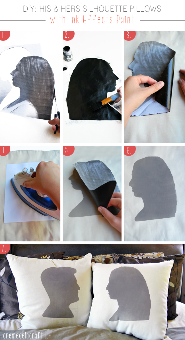 DIY-Project-Silhouette-Ink Effects-Paint-His-Hers-Pillows-Anniversary-Gift-Idea