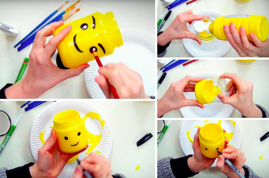 Fabriquez un pot rigolo en t te de l go pour vos enfants des id es - Activite manuelle pot en verre ...