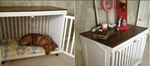 elle transforme un vieux lit de b b en couchette spacieuse et confortable pour son chien une. Black Bedroom Furniture Sets. Home Design Ideas