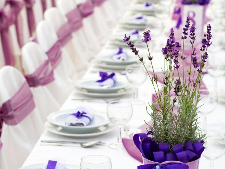 decoration salle mariage lavande