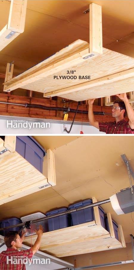 10.-DIY-Suspended-Shelving-28-Brilliant-Garage-Organization-Ideas