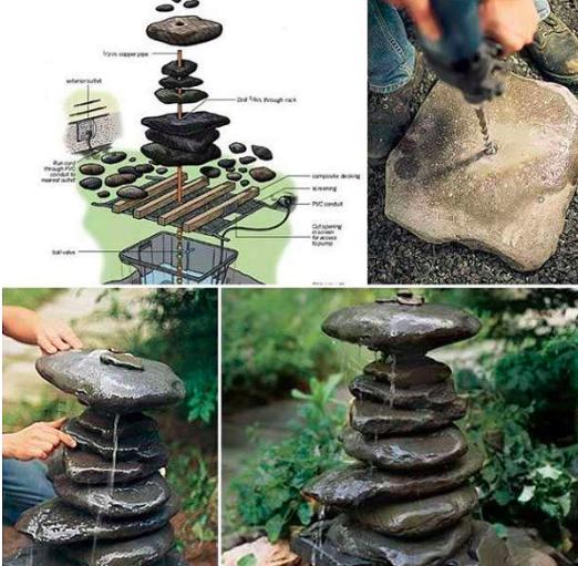 7 pour une fontaine dcorative les galets - Construire Une Fontaine De Jardin