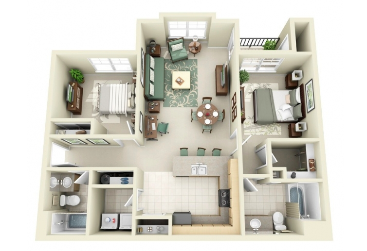 50 Plans En 3D Du0027appartements Et Maisons