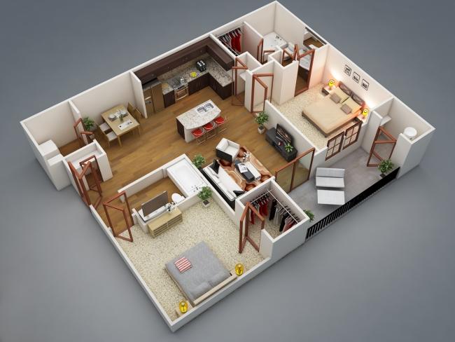 50 Plans En 3d D 39 Appartements Et Maisons Des Id Es