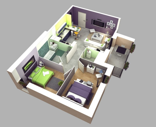 Plan maison 3 chambres 3d for Plan appartement 3d
