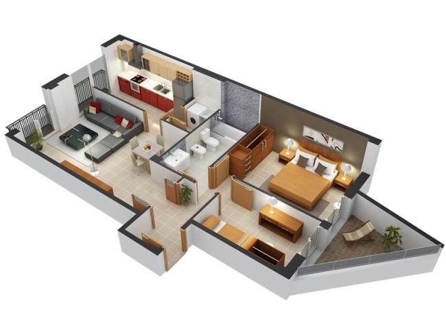 50 plans en 3d d 39 appartements et maisons des id es - Lay outs huis idee ...
