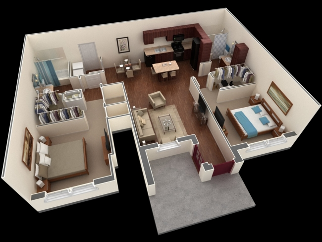 50 plans en 3d d 39 appartements et maisons page 2 sur 6 for Plan appartement 3 chambres
