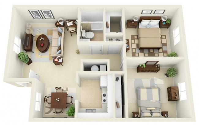 50 plans en 3d d 39 appartements et maisons page 3 sur 6 for Plan appartement 3 chambres