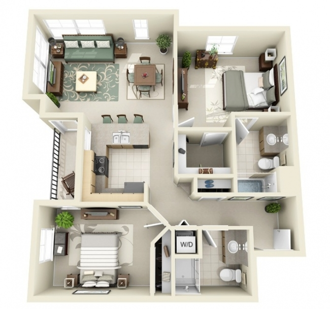 50 plans en 3d d 39 appartements et maisons page 4 sur 6 for Plan appartement 3 chambres
