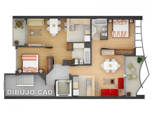 50 plans en 3d d 39 appartements et maisons page 4 sur 6 for Plan appartement 2 chambres