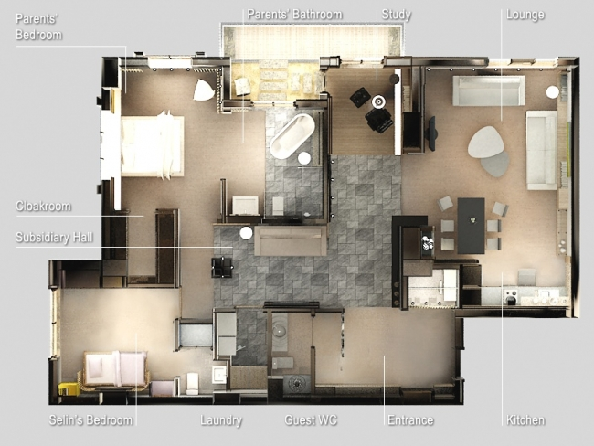 50 plans en 3d d 39 appartements et maisons page 5 sur 6 for Plan appartement 3 chambres