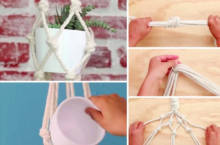 Fabriquez un porte plante adorable inspiration macram des id es - Porte plante macrame ...