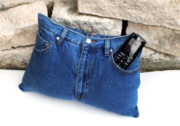 Objet deco jeans recycle coussins portable