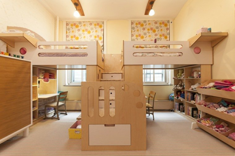 idee deco chambre partagee lits mezzanine
