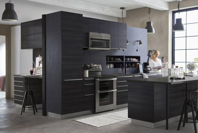 Cuisine Rouge Et Noir Ikea With Simple. Cuisine Noire Et Bois En