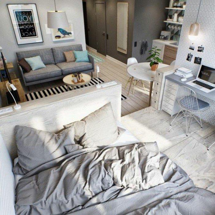 amenager un studio de 20m2 sol en planches en bois canape gris anthracite mubles de salon des. Black Bedroom Furniture Sets. Home Design Ideas