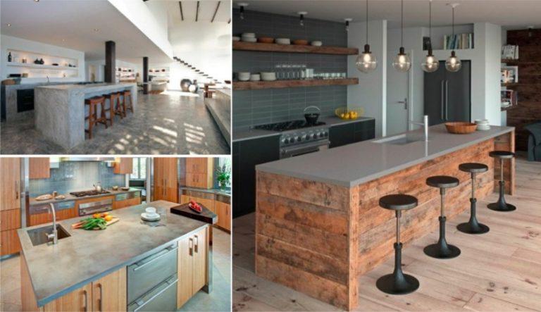 43 cuisines avec de superbes lots ou comptoirs de cuisine - Faire un comptoir en beton ...