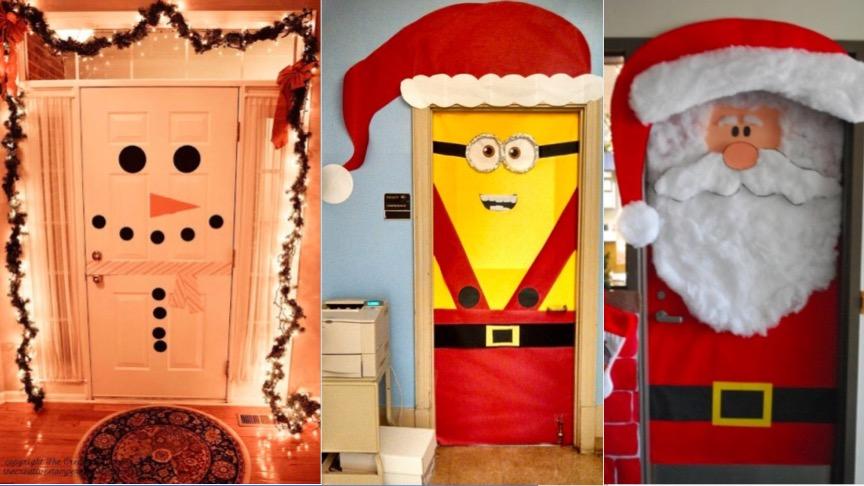 21 id es festives pour d corer votre porte des id es for Decoration porte entree noel