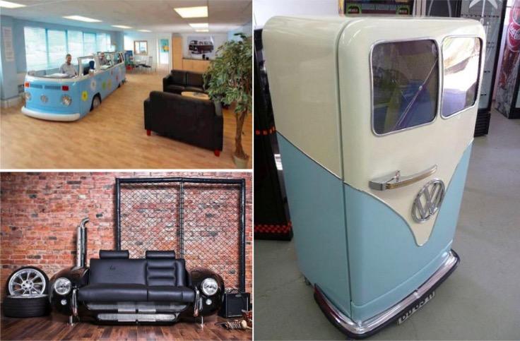20 id es pour recycler votre vieille voiture en objet insolite des id es. Black Bedroom Furniture Sets. Home Design Ideas