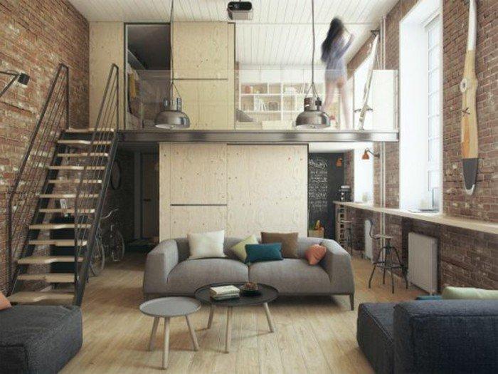studio-chic-moderne-style-industriel-mur-en-briques-rouges-escalier-en-fer-sol-en-parqeut-clai
