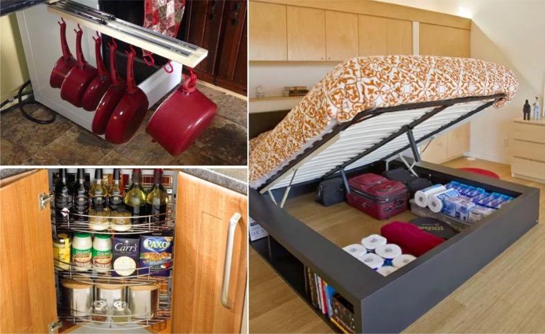 16 astuces pour un gain de place indiscutable dans votre petit chez vous. Black Bedroom Furniture Sets. Home Design Ideas